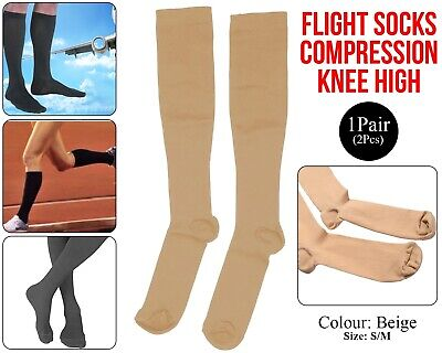 Flight Travel Socks Compression Anti Swelling Fatigue DVT Support Stocking Beige