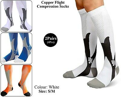 2 x Copper Infused Compression Socks Flight Travel Knee Varicose Stocking White