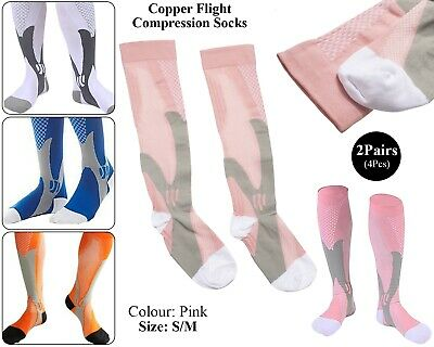 2 x Copper Infused Compression Socks Flight Travel Knee Varicose Stocking Pink