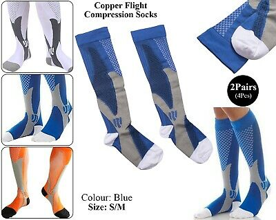 2 x Copper Infused Compression Socks Flight Travel Knee Varicose Stocking Blue