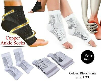 Copper Infused Compression Socks Fasciitis Ankle Support Pain Dots Black/White