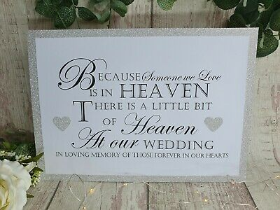 Glitter Sign In Loving Memory B Heaven at Our Wedding A4 silver gold blue pink