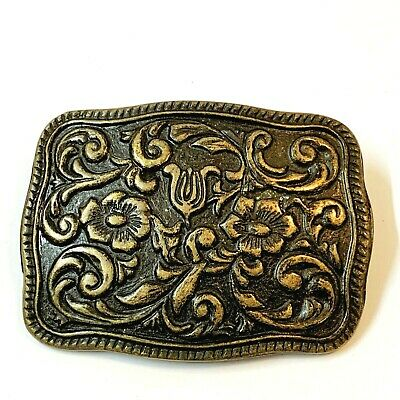 Women's Embossed Floral BRASS BELT BUCKLE, Western Country Style 8x6cm
