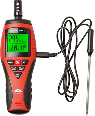 ADA Thermo-Hygrometer ZHT 100 6 in 1, Digital Moisture and Temperature Meter and
