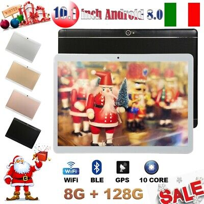 10.1 pollici 8GB+128GB Tablet PC Bluetooth Android 8.0 10 Core WIFI 2 SIM IT