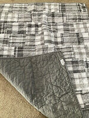 Pottery Barn Kids Gray Madras Crib Bumper & Skirt