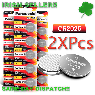 CR2025 3V Lithium Coin Button Cell Battery 2 x Panasonic