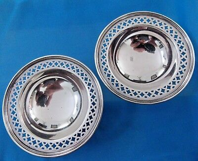 Antique  Pair TIFFANY & CO. Sterling Silver Reticulated Salt Cellars 1900 - 1940