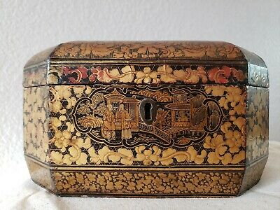 Antique Chinese Gilt Painted Export Tea Caddy Pewter Containers Gold Lacquer