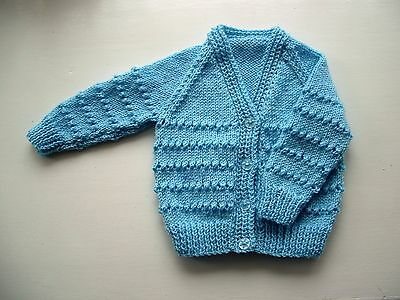 Baby Cardigan, Pale Blue, Long Sleeve, Hand Knitted, 3-6 Months, New