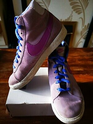 Girls Nike Suede Trainers High Tops Lilac  Purple and Blue Size 2