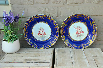 PAIR antique French porcelain Plates putti angel figurine sevres