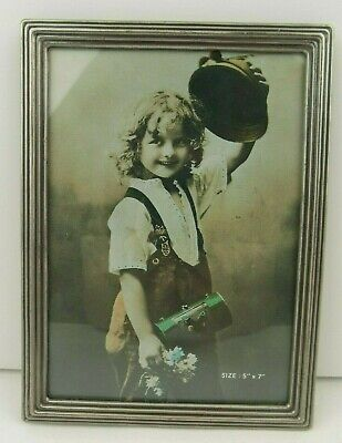 """Vintage Silver Tone Photo Picture Frame Art Deco Style Easel Back 5"""" x 7"""" Taiwan"""