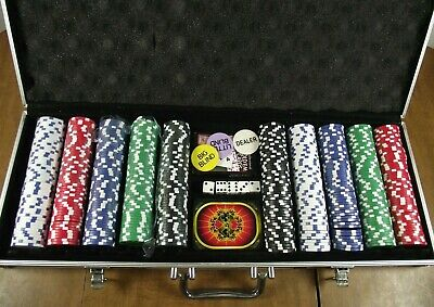 Poker Chip Set of 500 Chips Texas Hold'em Cards and Dice in Aluminum Case Used
