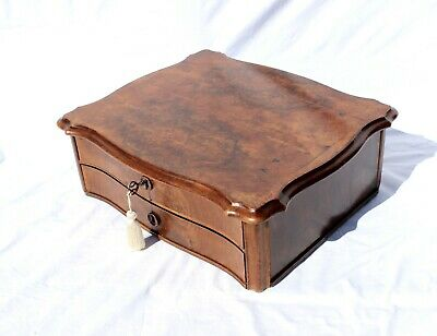 Antique Sewing Box w/Drawers, Burl Walnut, Misc. Items--Granddaughter Gift