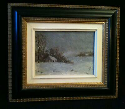 "Frank HOUGHTON ""WINTER LANDSCAPE"" 10"" x 8"" Canadian oil painting 1890's?"