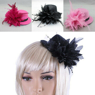 Women Fascinator Hair Clip Headband Feather Hat Flower Wedding Hairband Headress