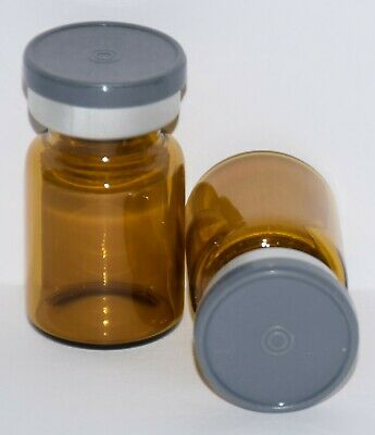 USP 5 mL Amber Sterile Vial with Dark Gray Plain Flip Top Seal 3 Pack