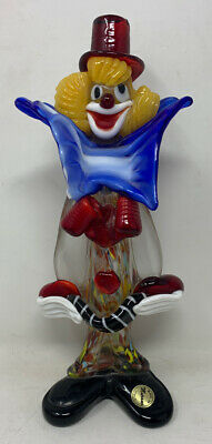 Authentic Murano Glass Clown Red Hat & Yellow Hair Made In Italy Collectible