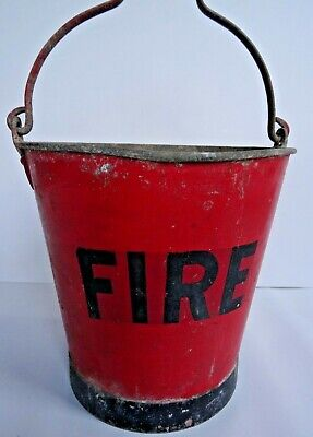 Vintage Galvanised Metal Fire Bucket Garden Planter Pot Kindling Red Old Antique