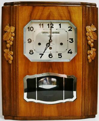Antique Art Deco French 8 Day Westminster Chime Musical Wall Clock Calendar Dial