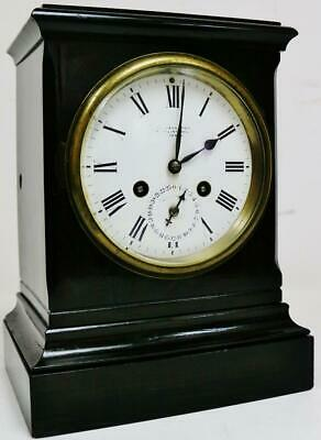 Rare Antique French 8 Day Ebonised Wooden Timepiece Mantel Clock With Alarm