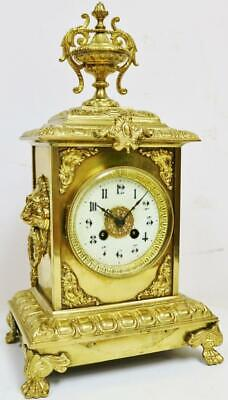 Antique French 8 Day Bronze Ormolu Ornate Architectural Cube Style mantel Clock