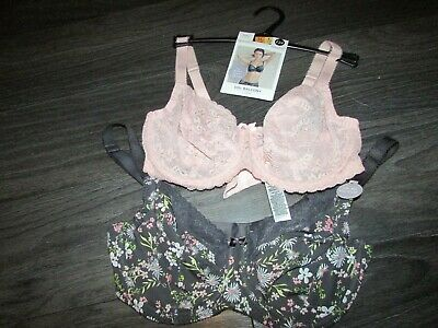 2 pack pink/grey floral balcony bra,M&S texture/lace ,size 32G/GG/E,BNWT,RRP £24