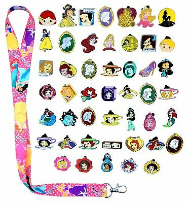 Princess Theme Starter Lanyard Set With 15 Disney Park Trading Pins - Brand NEW