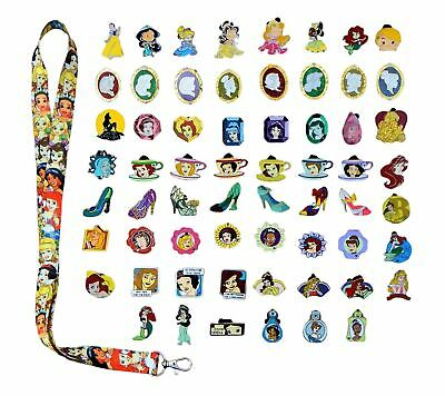 Princess Theme Starter Set With 15 Disney Park Trading Pins & Lanyard ~Brand NEW