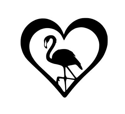 V346 Vinyl Decal Flamingo Heart Home Wall Cup Car Laptop Decal