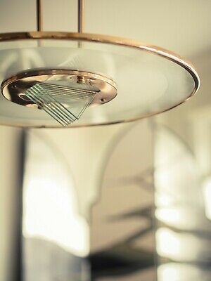 A French glamour Rene Herbst style pendant lamp Bauhaus Art Deco Modern design