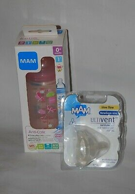 MAM, Pink, Anticolic, Self Sterilising, Bottle 260ml + Extra Teat