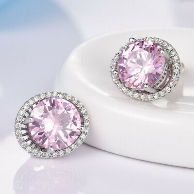 Chic Pink Sapphire 18k White Gold Filled Ladies Girls Piercing Stud Earrings GF