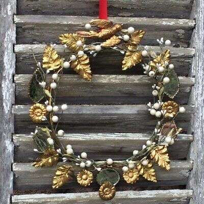 Antique FRENCH CHRISTMAS WREATH Crown Bird Dove Mirrors Gilt Leaves White Buds