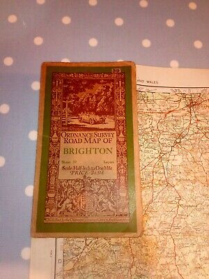 1928 Old Vintage OS Ordnance Survey Half-Inch Map 39 Brighton