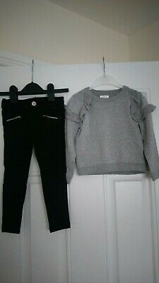 Girls Outfit Next Sparkly Jumper And Denim Co Jeans 2-3 Years