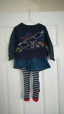 Girls Next Outfit unicorn jumper,denim Shorts and Tights 2-3 Years