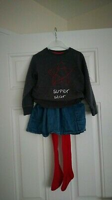 Girls Next Outfit star Jumper, Denim Skirt And Tights 2-3 Years
