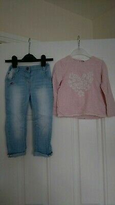 Girls Next Outfit long Sleeve top and embroiled Jeans 2-3 Years