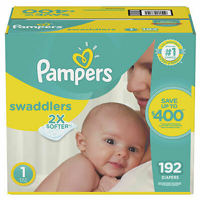 Pampers Swaddlers Disposable Diapers 192 Count Size 1 Baby 8-14 Lbs Absorbant