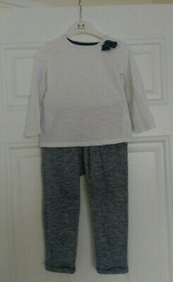 Girls outfit Matalan top with bow and Next harem trousers 2-3 Years