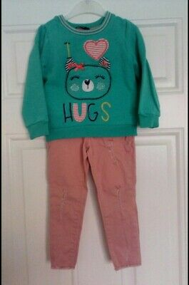 Girls Outfit George jumper and Denim Co trousers 2-3 Years