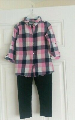 Girls Checked outfit Primark shirt and Denim Co trousers 2-3 Years
