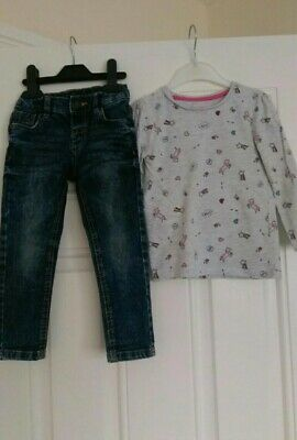 Girls outfit **unicorn** Primark Top and M&S jeans 2-3 Years