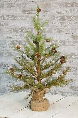 "24"" Feather Pinecone Tree with Burlap Base - Primitive Country Decor"