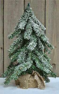 """18"""" Frosted Short Needle Pine Tree with Burlap Base - Primitive Country Decor"""