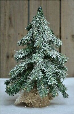 """12"""" Frosted Short Needle Pine Tree with Burlap Base - Primitive Country Decor"""