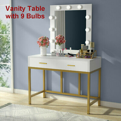 TRIBESIGNS MAKEUP VANITY Table Set with Lighted Mirror &2 ...