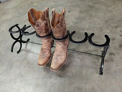 8 pairs Rustic Double Decker Horseshoe Boot Rack The Heritage Forge